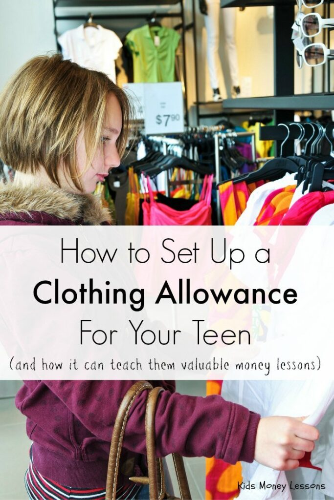 How to Set Up a Clothing Allowance for Your Teen or Tween: Giving teens a clothing allowance not only means fewer arguments with them about what to buy, but can teach teens valuable money skills that they will carry with them into adulthood - I speak from experience!