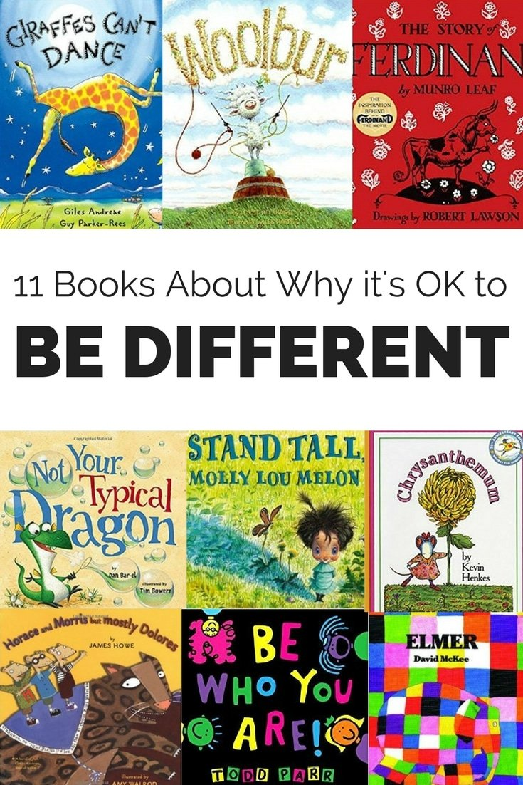 Our uniqueness is special and should be celebrated. Help kids understand why it's OK to be different with these eleven books. #childrensbooks #beingdifferent #noncomformity #kids #books #parenting