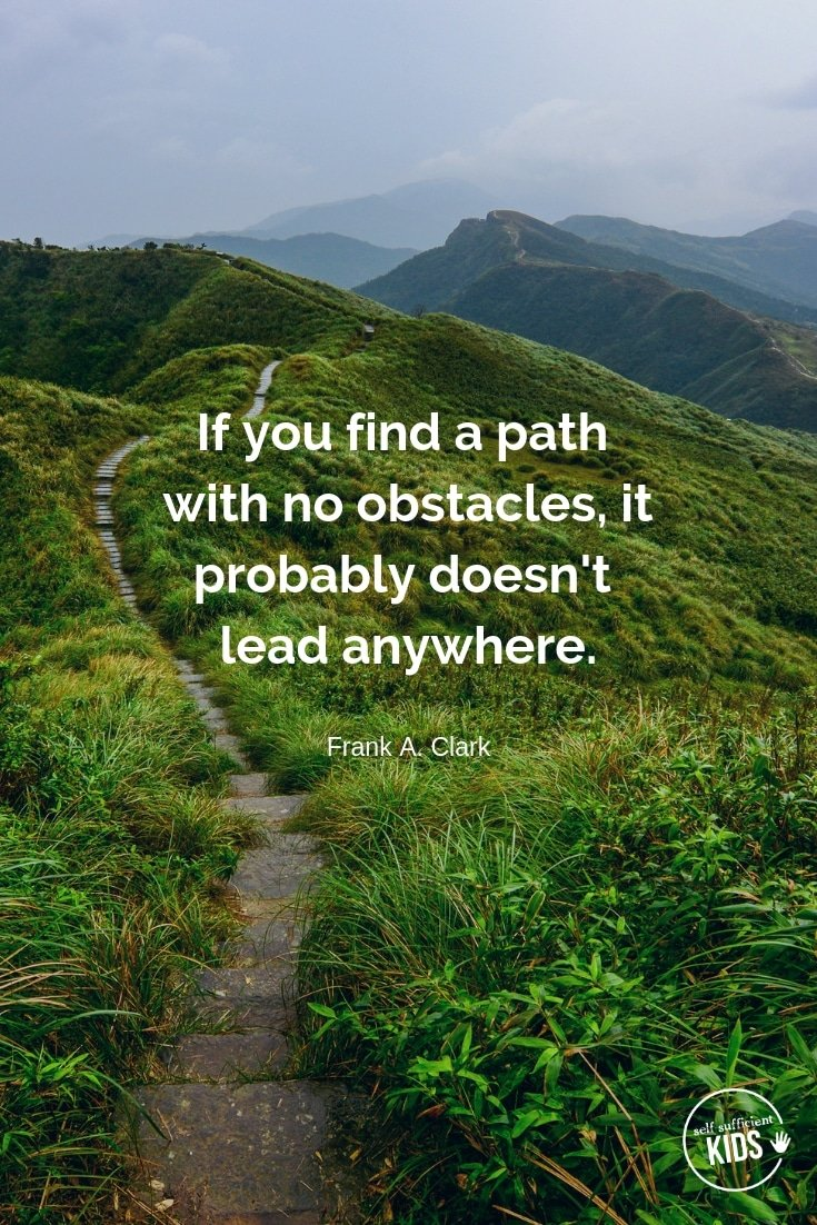 """""""If you find a path with no obstacles, it probably doesn't lead anywhere."""" - Frank A. Clark These growth mindset quotes will inspire both you and your kids to work hard, not give up, and to view challenges and failures as opportunities. #growthmindset #growthmindsetquotes"""
