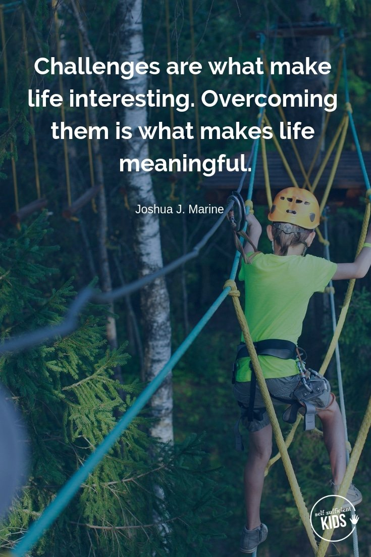 """""""Challenges are what make life interesting. Overcoming them is what makes life meaningful."""" - Joshua J. Marine These growth mindset quotes will inspire both you and your kids to work hard, not give up, and to view challenges and failures as opportunities. #parentingquotes #parentingadvice #parentingtips"""