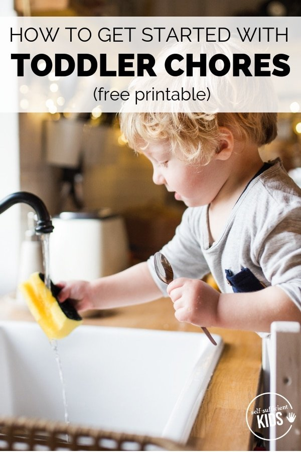 Toddlers are eager helpers! Take advantage of this stage by getting your toddler involved in chores. Inside are seven tips for getting started on toddler chores, plus a free printable with age-appropriate chores. #kidschores #kidschoresbyage #kidschoresideas #parentingadvice #parentingtips