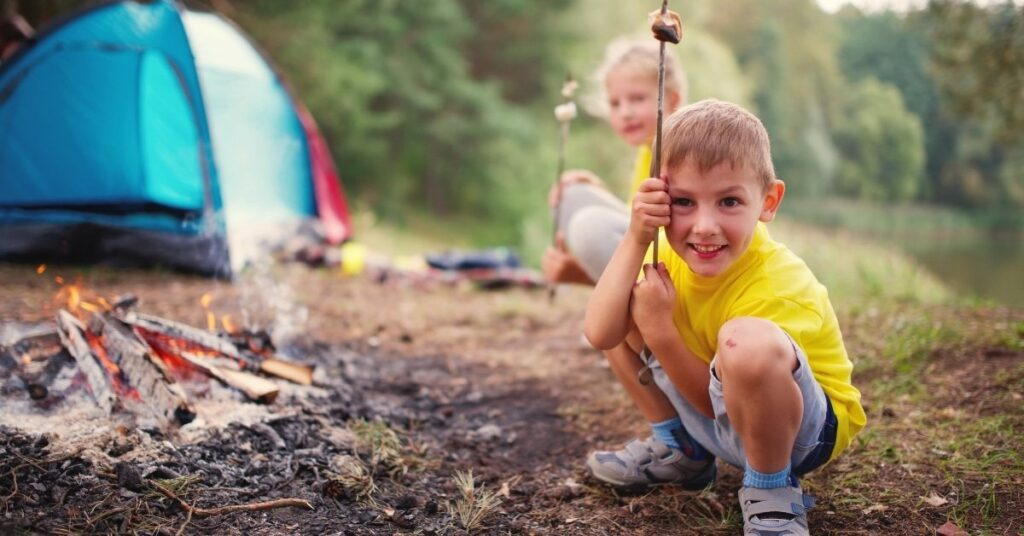 children camping, summer family outings