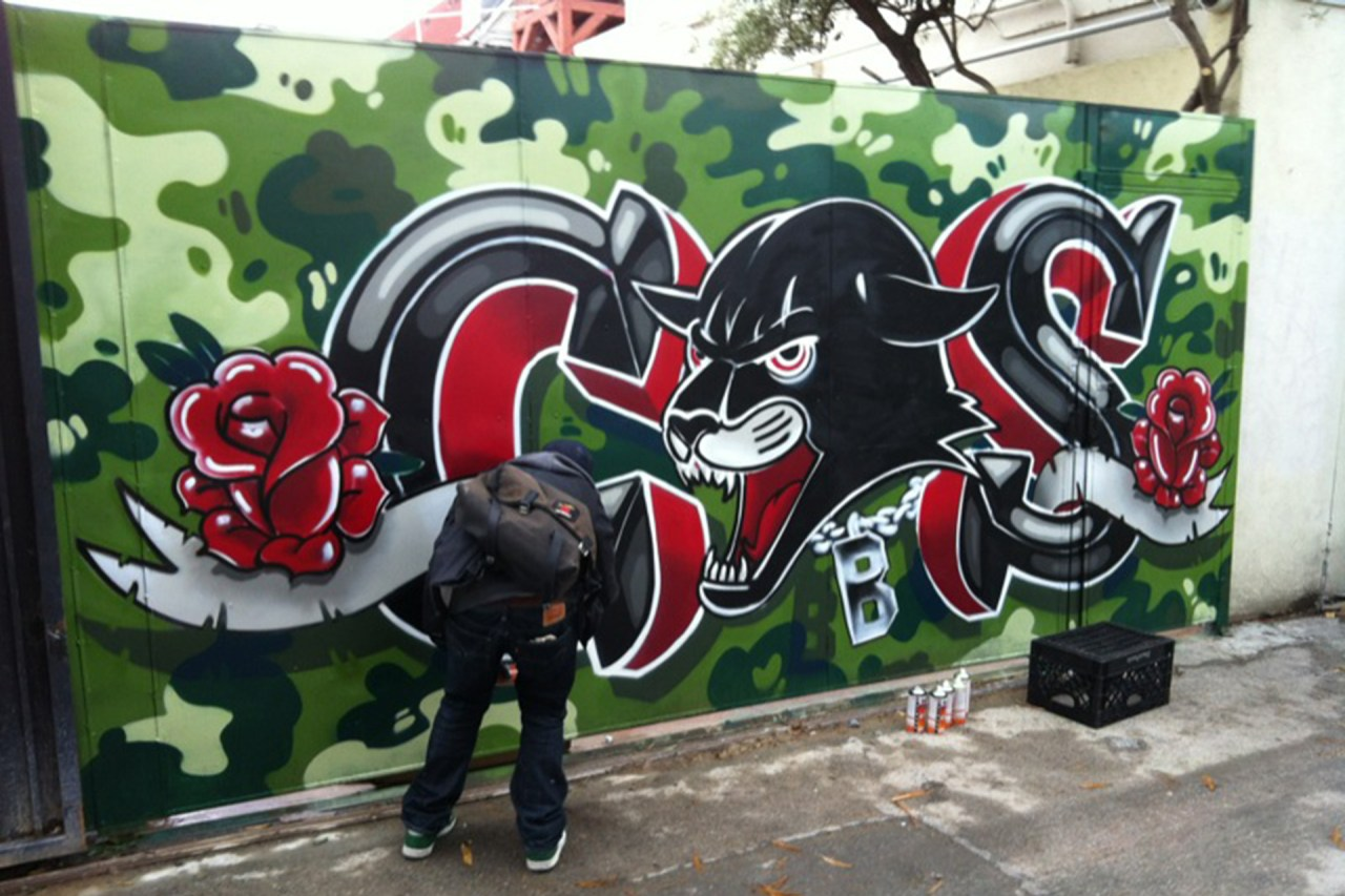 self selfuno painting action cbs crew black panther camo wall piece letters melrose march 2013