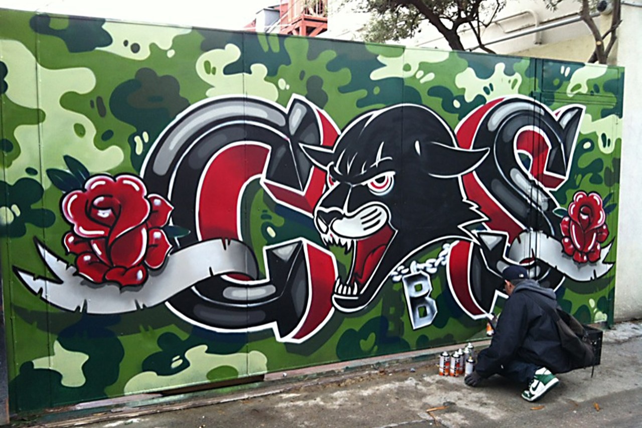 self selfuno painting action cbs crew panther camo wall piece letters melrose march 2013