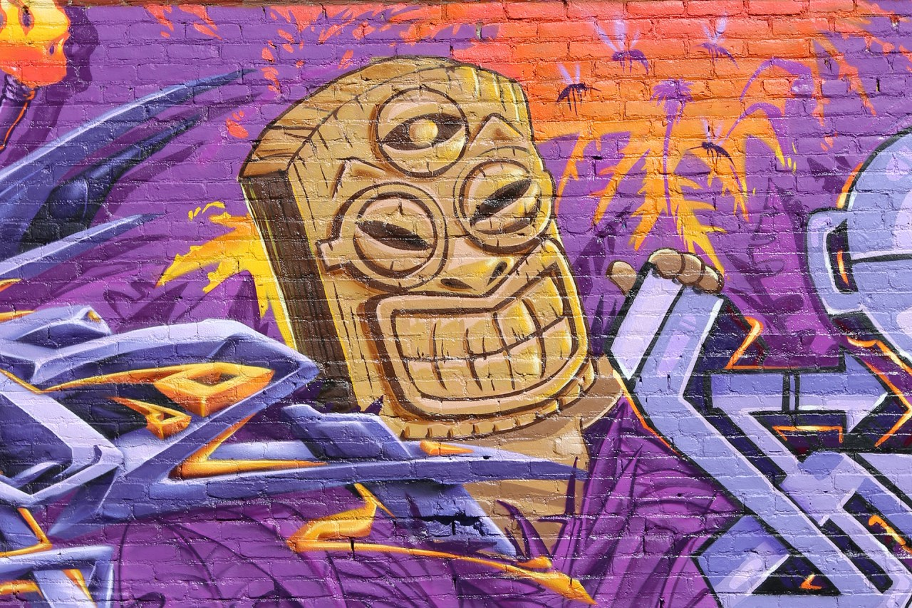 self selfuno graffiti grafflab los angeles pico union character tiki theme production cbs crew june 2014