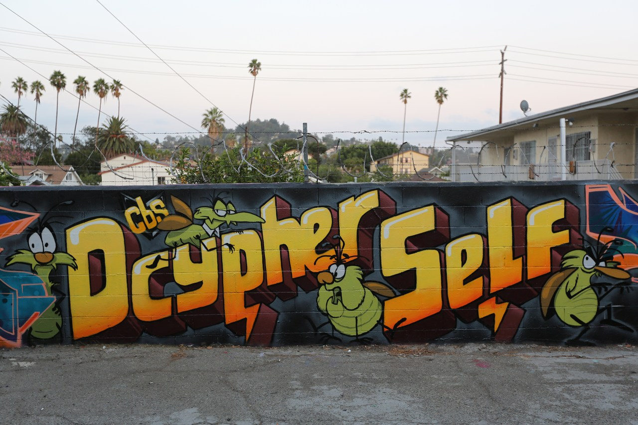 self selfuno dcypher cbs crew graffiti hollywood los angeles alley letters raid roach character september 2014