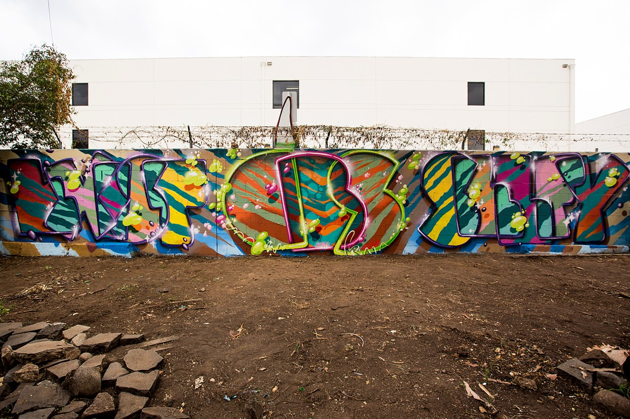 self selfuno exist cbs crew graffiti wall hollywood los angeles letters piece december 2014