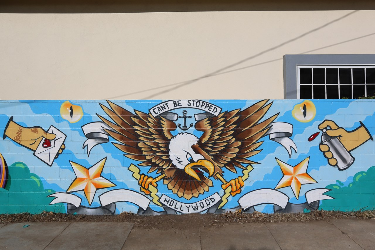self selfuno cant be stopped cbs crew eagle tattoo style graffiti mural hollywood los angeles december 2013