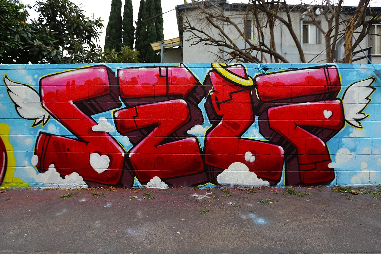self selfuno graffiti east hollywood los angeles red letters piece january 2015