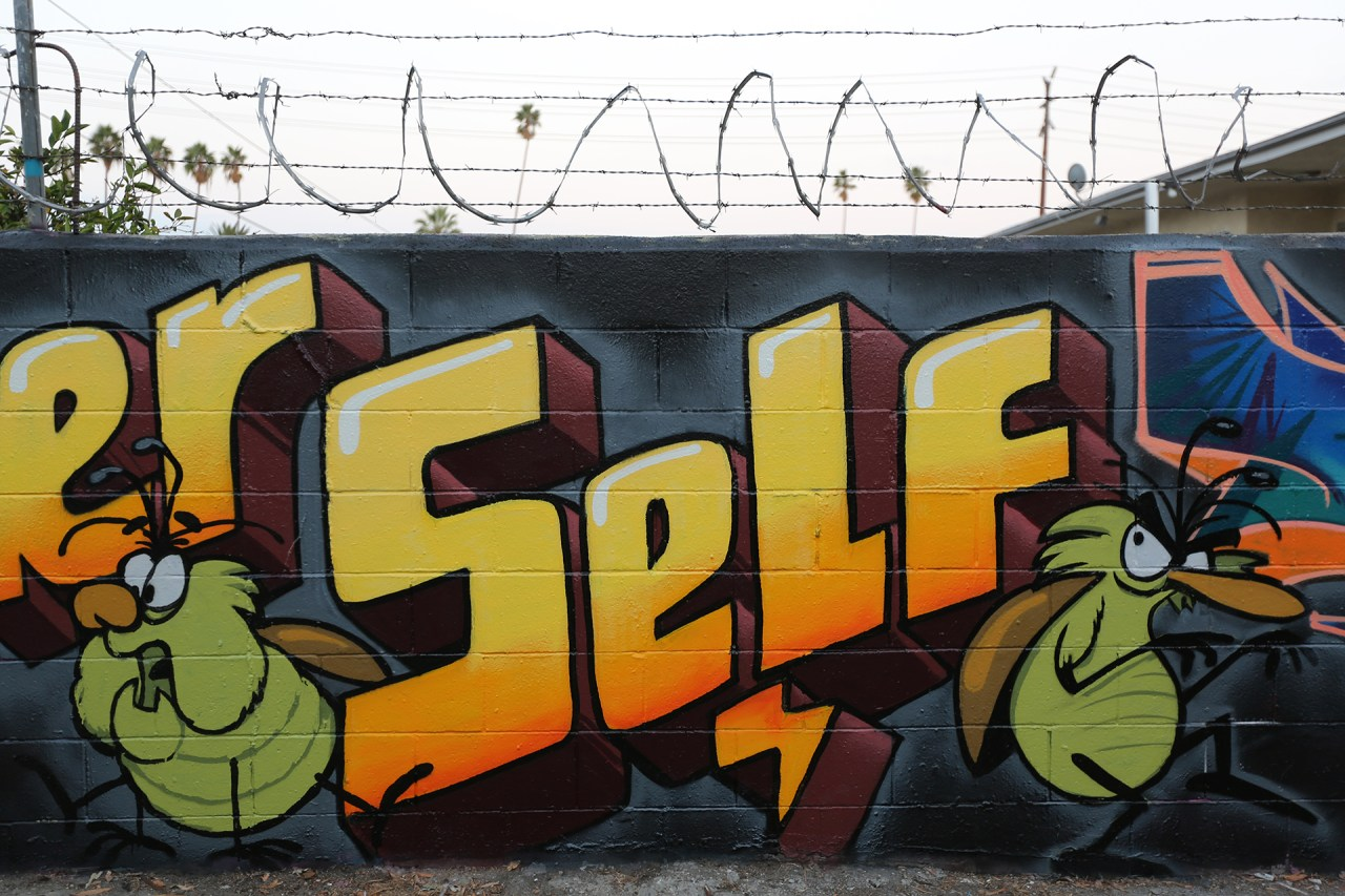self selfuno graffiti hollywood los angeles alley letters raid roach character september 2014
