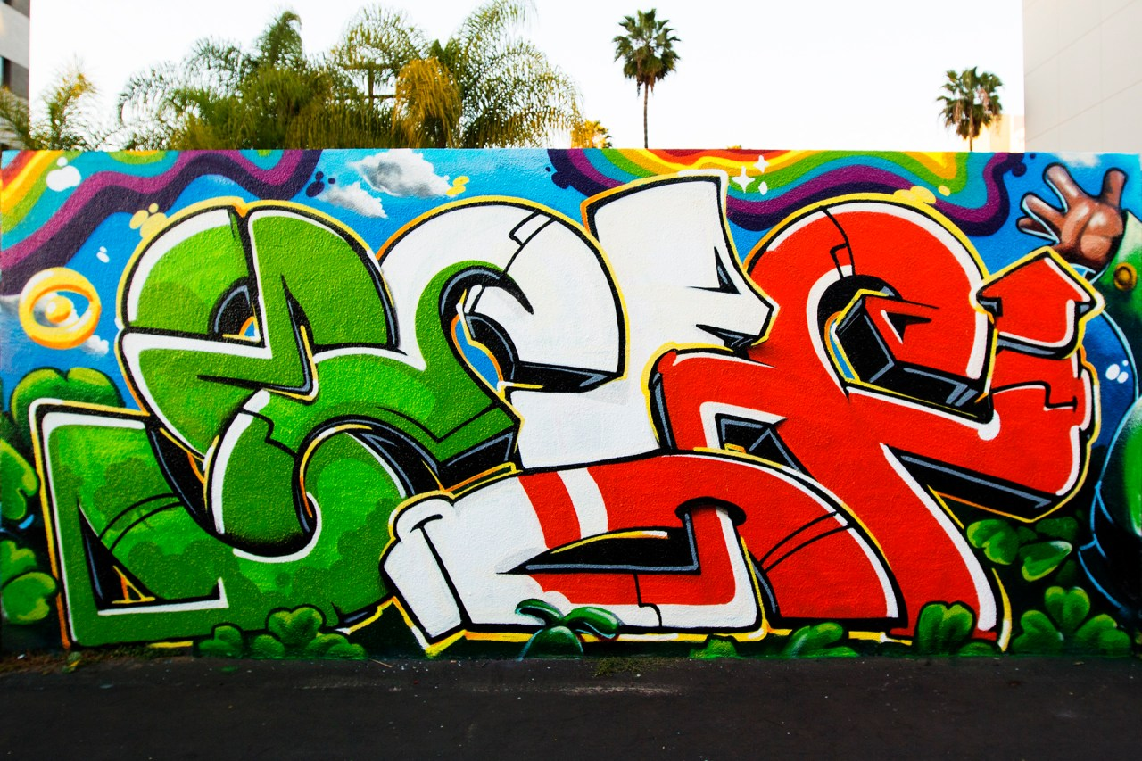 self selfuno graffiti los angeles hollywood piece letters connections shamrock rainbow march 2015