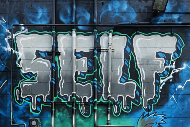 self selfuno graffiti melrose alley hollywood wall piece horror comic style lettesr los angeles december 2012