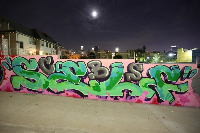 self selfuno graffiti piece burner letters los angeles westlake downtown september 2012