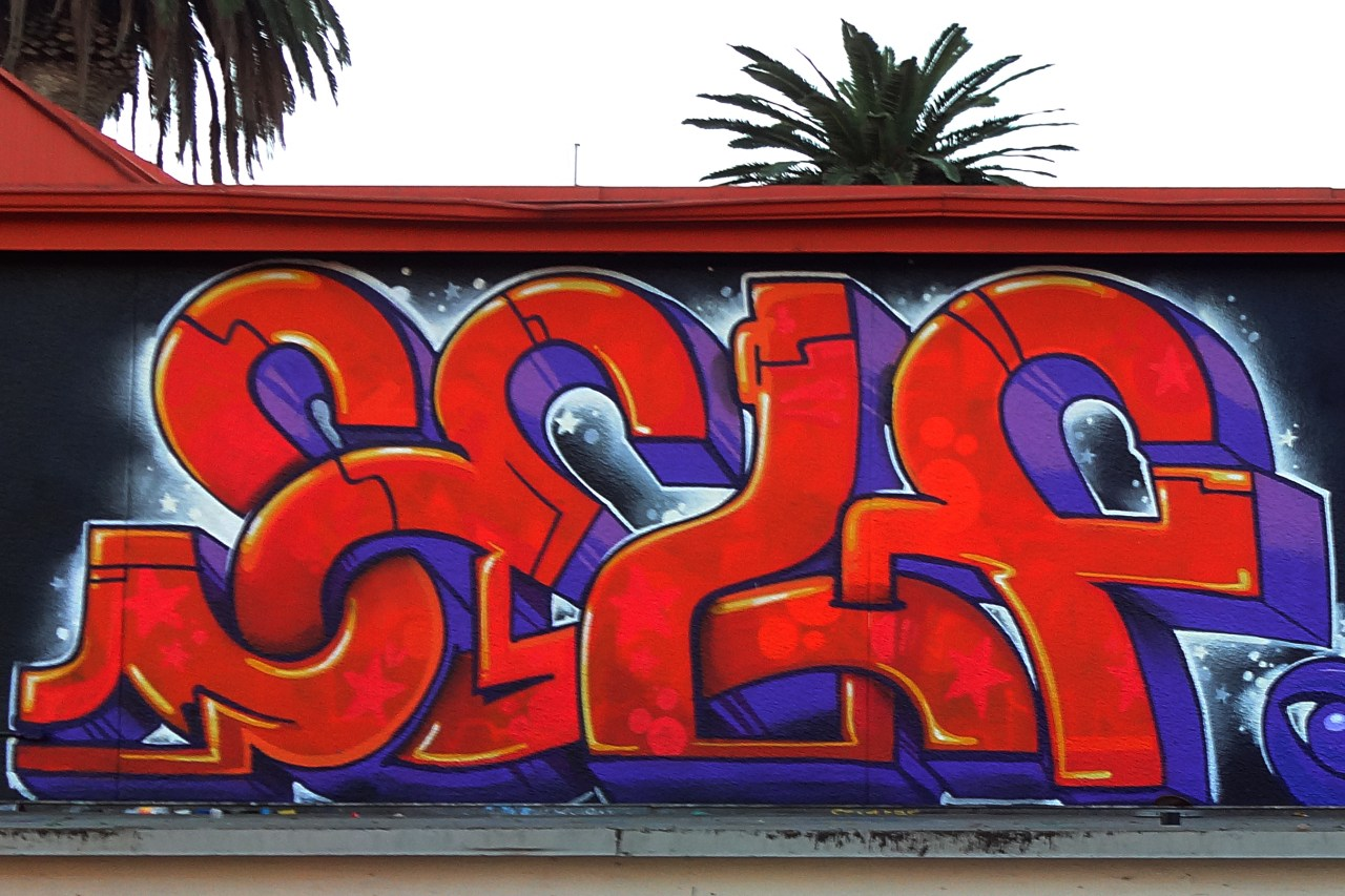 self selfuno graffiti piece letters long beach