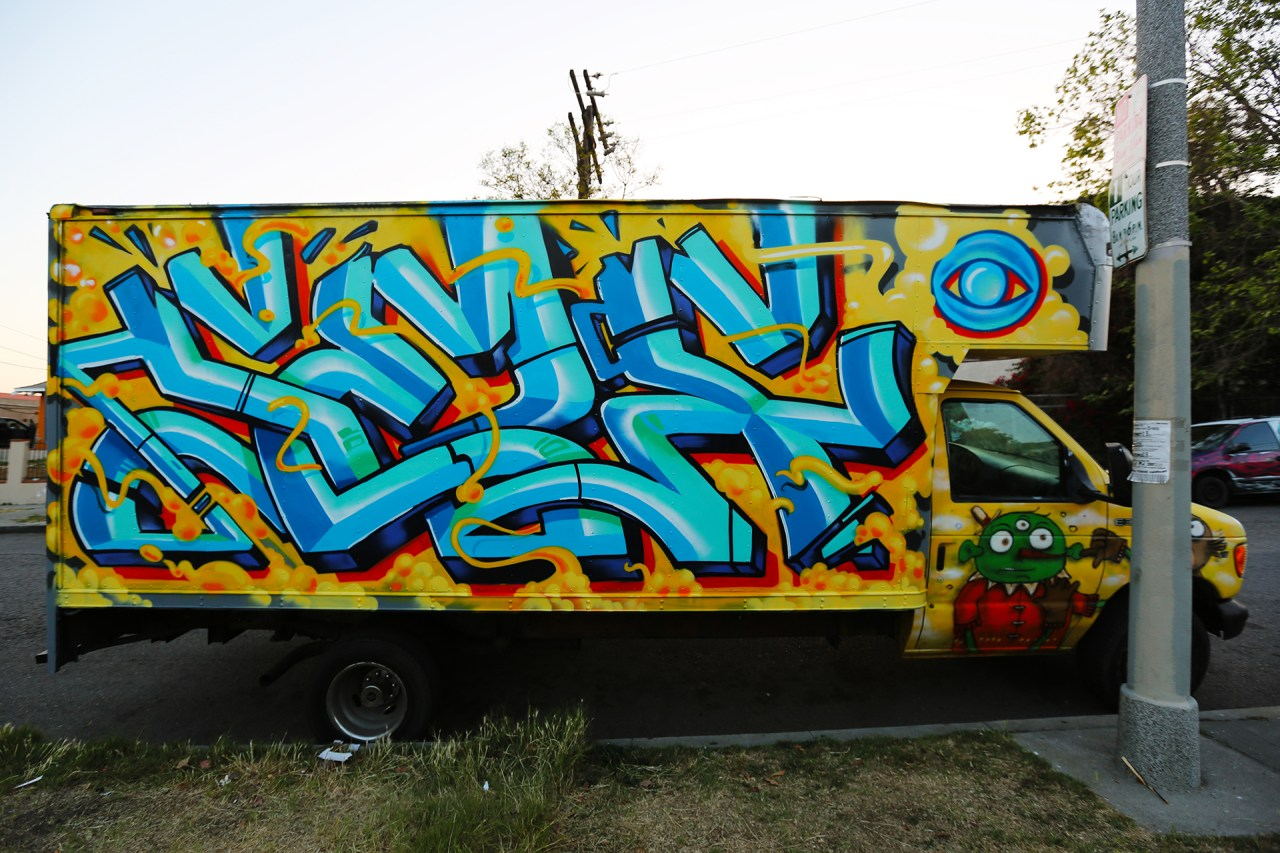 self selfuno graffiti truck silverlake los angeles letters burner april 2013