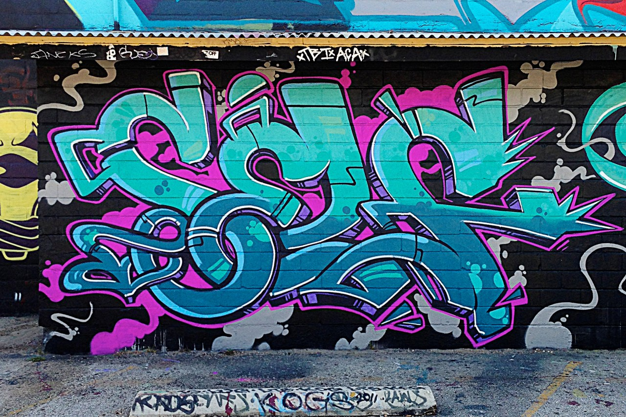 self selfuno graffiti wall green piece letters san antonio texas may 2013