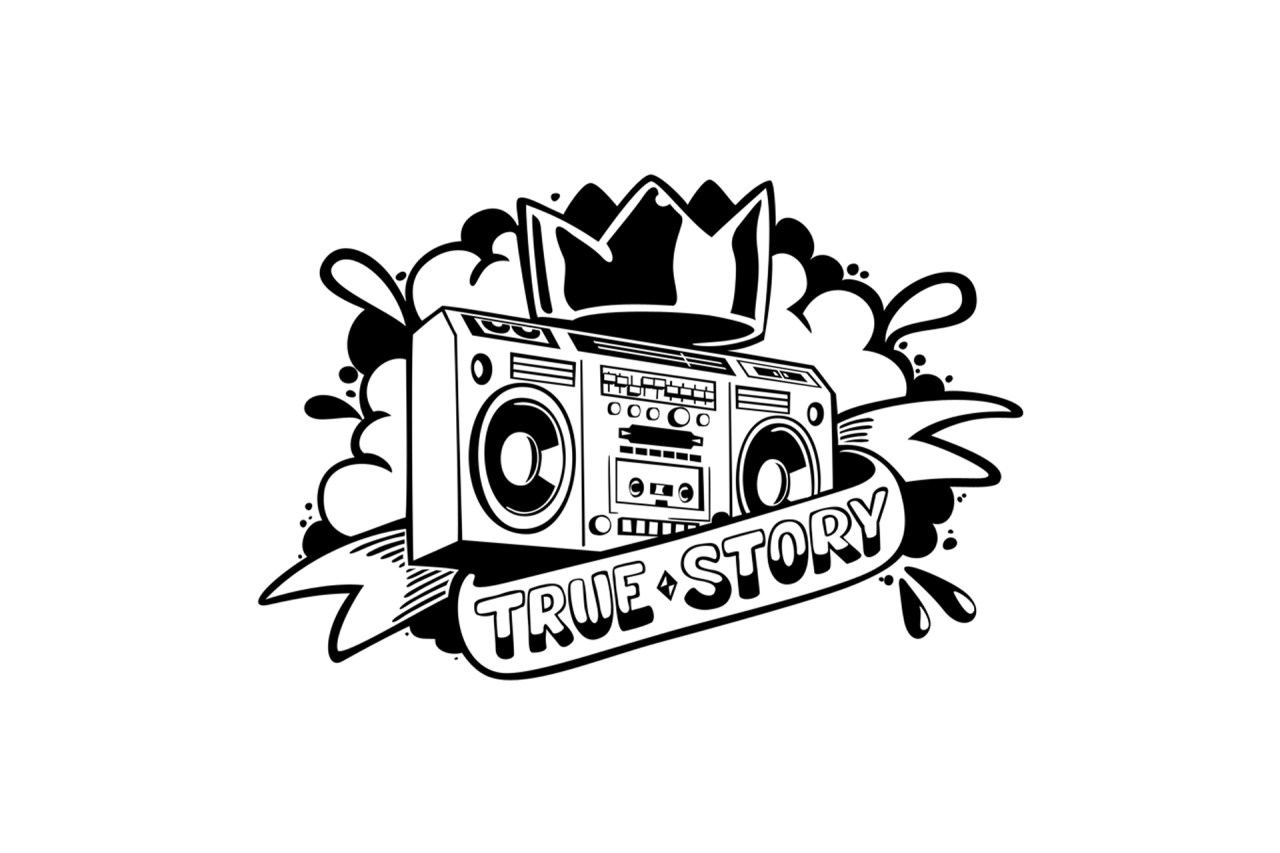 self uno boombox radio old school digital art linework tatto style graffiti true story