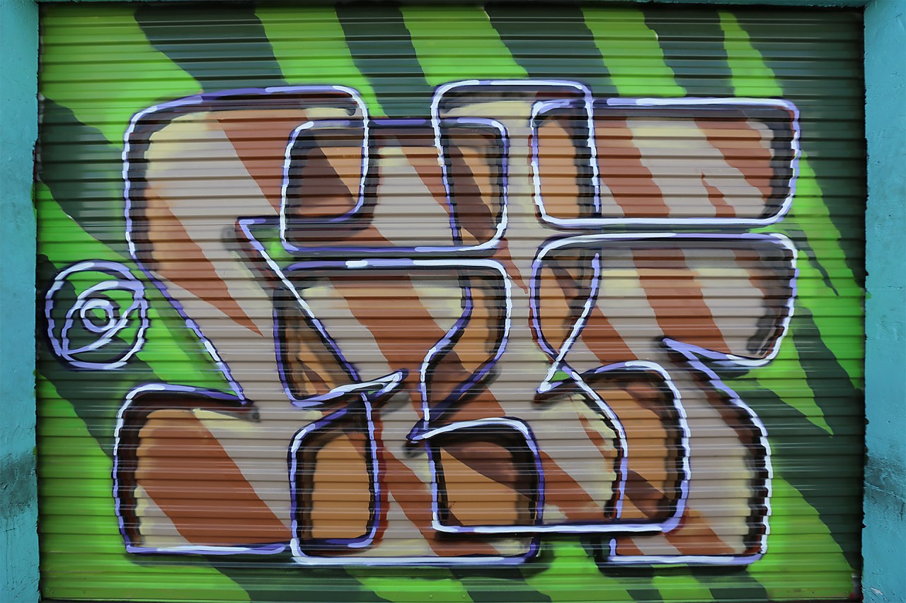 self uno selfuno graffiti piece letters burner style funk zebra gate rolldown spraypaint aerosol art tarzana may 2015