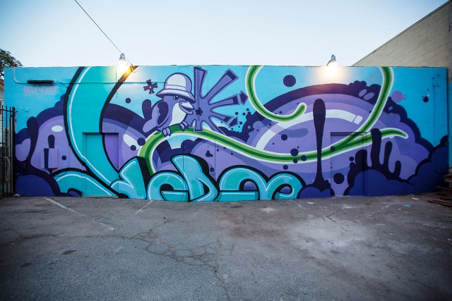 self uno selfuno exist cbs wall art crossfit los feliz commission mural june 2015