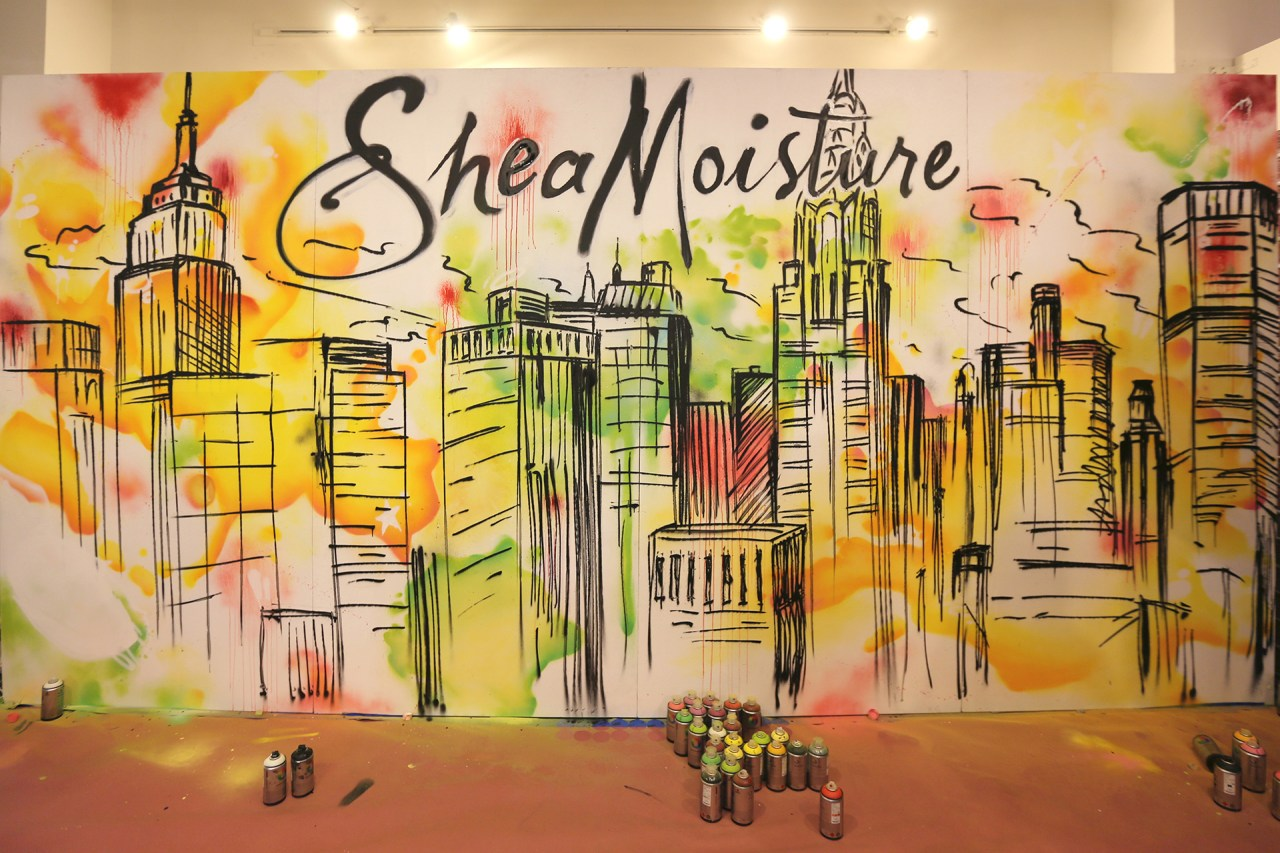 shea moisture live painting beautycon 2015 watercolor style skyline background commission aerosol art