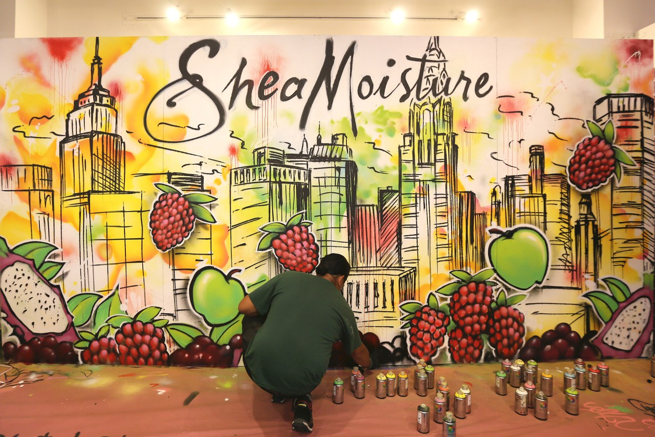 shea moisture live painting beautycon 2015 watercolor style skyline background fruit commission aerosol art