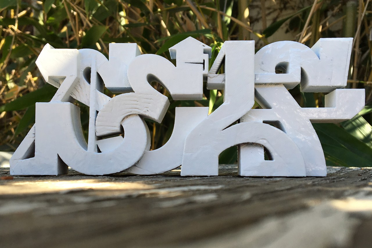 self uno selfuno 3d model print rapid prototype makerbot graffiti piece sculpture painted white