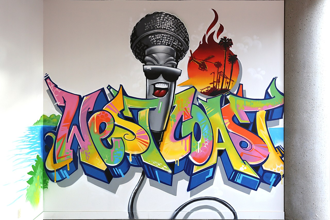 west coast hip hop rap california african american museum graffiti mural art for hire commission self uno trixter april 2016