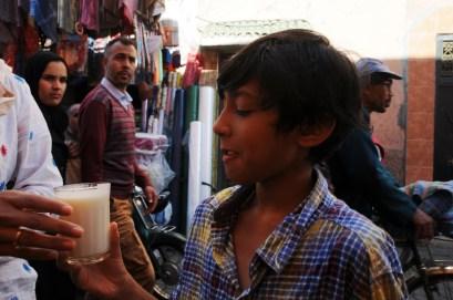 Trying Yogurt drink in Marrakech