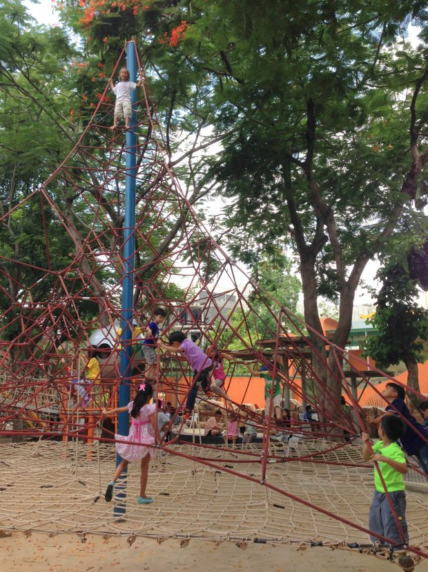 Climbing to the very top of the 'Pyramid Net' is challenging and thrilling.