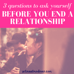 "girl sitting with guy while staring off as guy looks down with pink overlay and white text that reads, ""3 Questions to Ask Yourself Before Ending Your Relationship"""