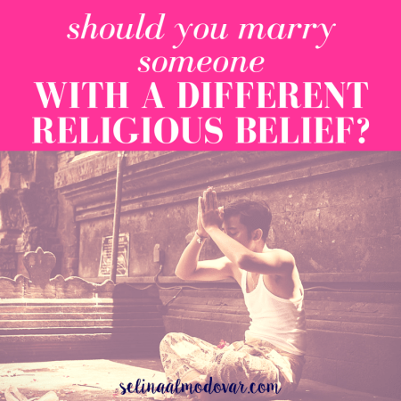 """man sitting on the floor in cross-legged praying in an outdoor setting with pink overlay and white text that reads, """"Should You Marry Someone With A Different Religious Belief?"""""""