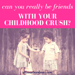 """little girl giving a flower to a little boy in front of a wooden wall with pink overlay and white text that reads, """"Can You Really Be Friends with Your Childhood Crush?"""""""