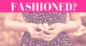 "hands of a girl wearing a blue dress holding a flower with pink overlay and white text that reads, ""Is Celibacy Old Fashioned?"""