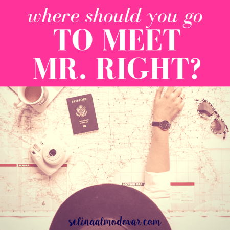 "girl pointing on a map that covers the table with passport, cup of coffee, camera, and sunglasses sit on top of the map with pink overlay and white text that reads, ""Where Should You Go to Meet Mr. Right?"""