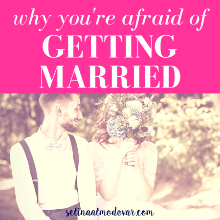"""bride and groom sit side by side while groom looks at bride and smiles as bride covers face with bouquet with pink overlay and white text that reads, """"Why You're Afraid of Getting Married"""""""