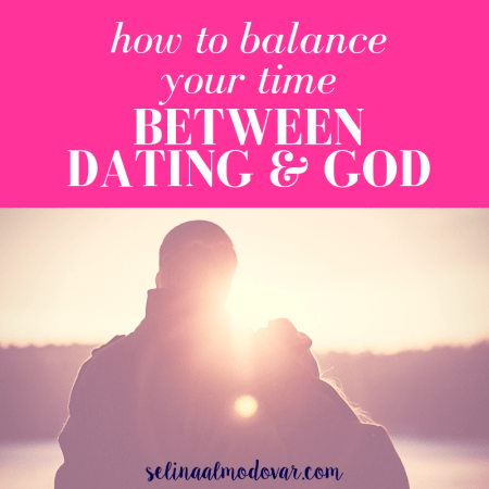 "man and woman standing side by side with woman leaning head into man as they overlook a lake and forest landscape with rays of the sun shining upon the horizon with pink overlay and white text that reads, ""How to Balance Your Time Between Dating & God"""