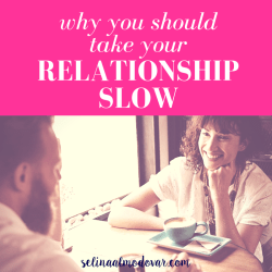 """curly haired girl smiles at man sitting across from her as they sit at a table with cups of coffee with pink overlay and white text that reads, """"Why You Should Take Your Relationship Slow"""""""