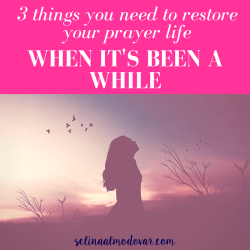 "silhouette of woman looking up at sky as the sun sets in the background with birds flying in pink overlay with white text that reads, ""3 Things You Need to Restore Your Prayer Life When It's Been a While"""