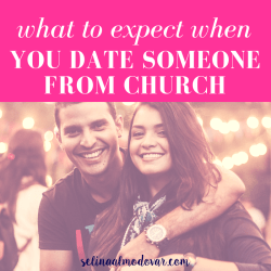 "guy drapes arm around girl as both smile with pink overlay and white text that reads, ""What to Expect When You Date Someone From Church"""