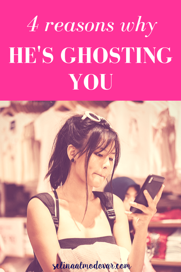 "girl biting her lip while staring at her phone and holding a pile of clothes with a pink overlay and white text that reads, ""4 Reasons Why He's Ghosting You"""