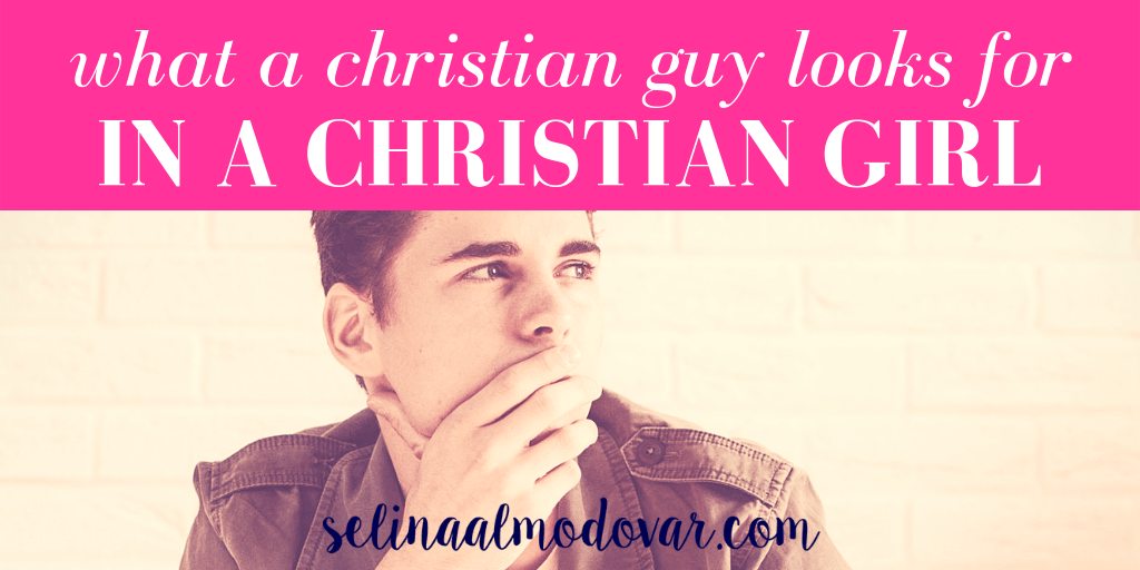 """young guy wearing a leather jacket is casually looking away with his hand over his mouth in pink overlay with white text that reads, """"What Christian Guys Look For In Christian Girls"""""""
