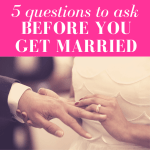 """closeup of hands of wife placing a wedding ring on husband's finger on their wedding day with pink overlay and white text that reads, """"5 Questions To Ask Before You Get Married"""""""