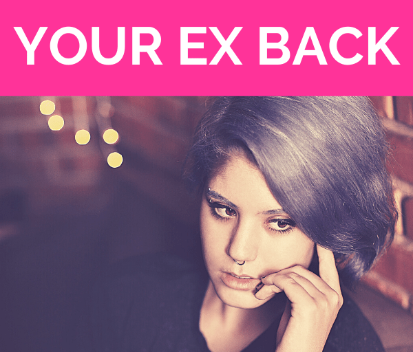 """girl with blue hair sits in low lit lounge looking over to her left with her hand casually resting on her face with pink overlay and white text that reads, """"Stop Wondering How To Get Your Ex Back"""""""