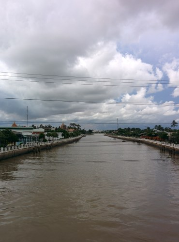 Developed side of Tra Vinh along the river.