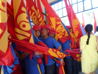 Mongolian flag holders getting ready for the Opening Ceremony