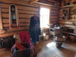 Inside one of the wooden houses.