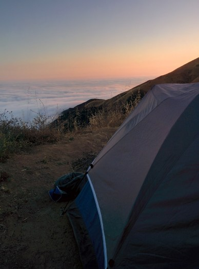 Our sweet camping set up off of Nacimiento Road.