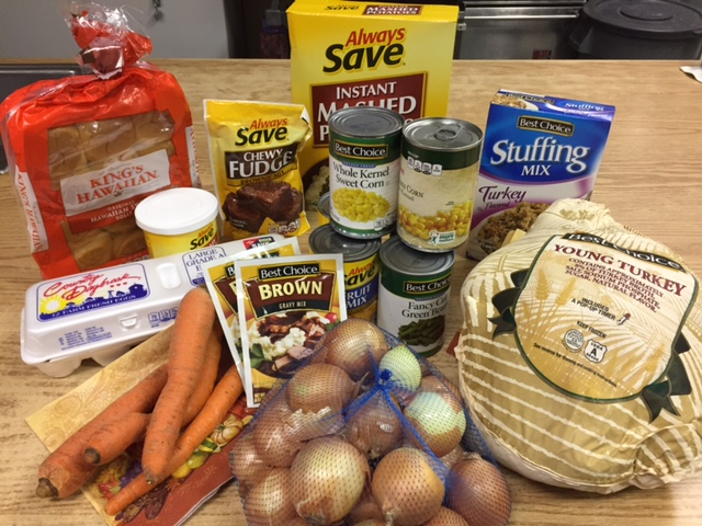 photo of Thanksgiving food for food pantry