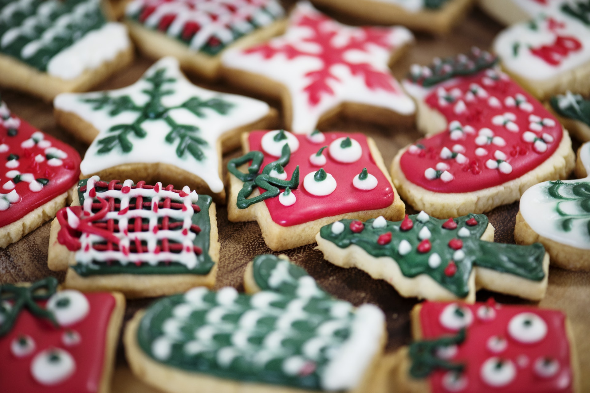 photo of decorated Christmas cookies