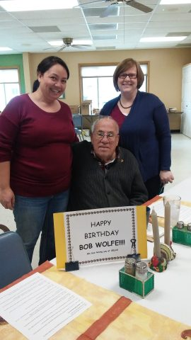 photo of honoring senior diner on his birthday